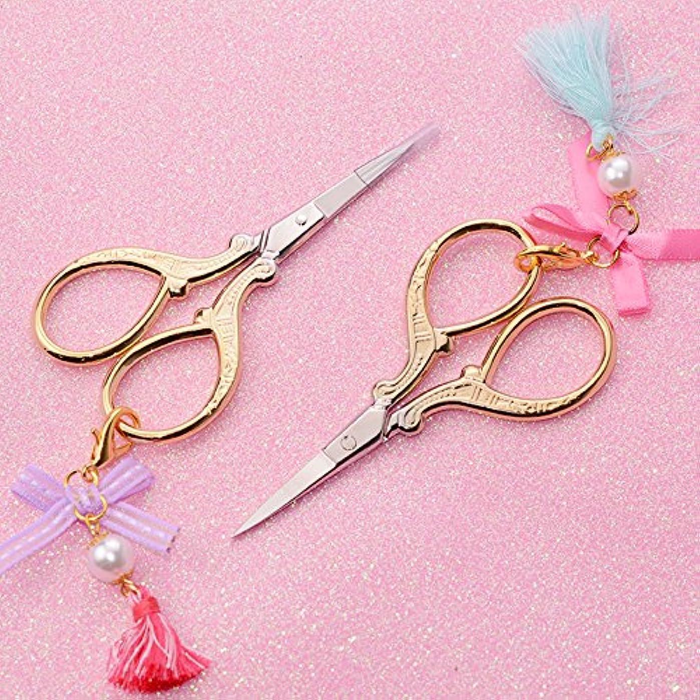 雹不公平負担ビーズタッセルペンダントステッカーカッターマニキュアネイルアート装飾ツールと金めっき爪ハサミ