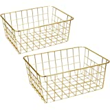 Wire Baskets, Gold 2 Pack Wire Basket, Organizing Storage Crafts Decor Kitchen (Gold Copper)
