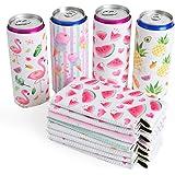 WERNNSAI Neoprene Slim Can Sleeves - Set of 12 Can Sleeves Beer Soda Drink Coolies Caddies Collapsible Reusable Thermocoolers