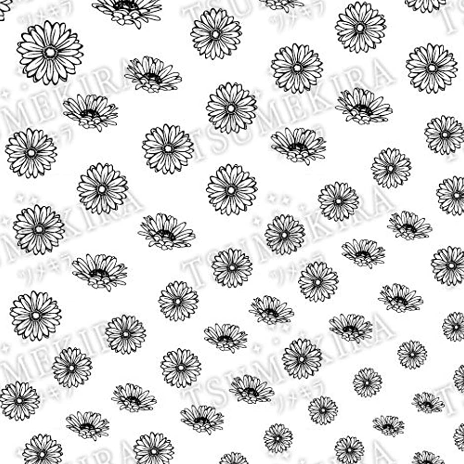 エスカレーター前売乳白色ツメキラ ネイル用シール フラワースタイル ガーベラ ブラック