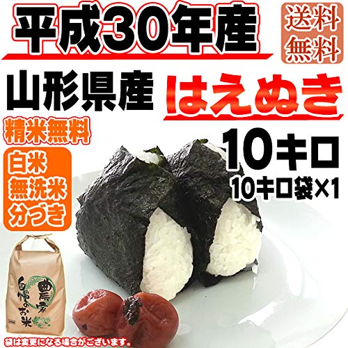 【お好みに精米】山形県産 玄米 はえぬき 10kg 平成29年度産 (白米に精米する)