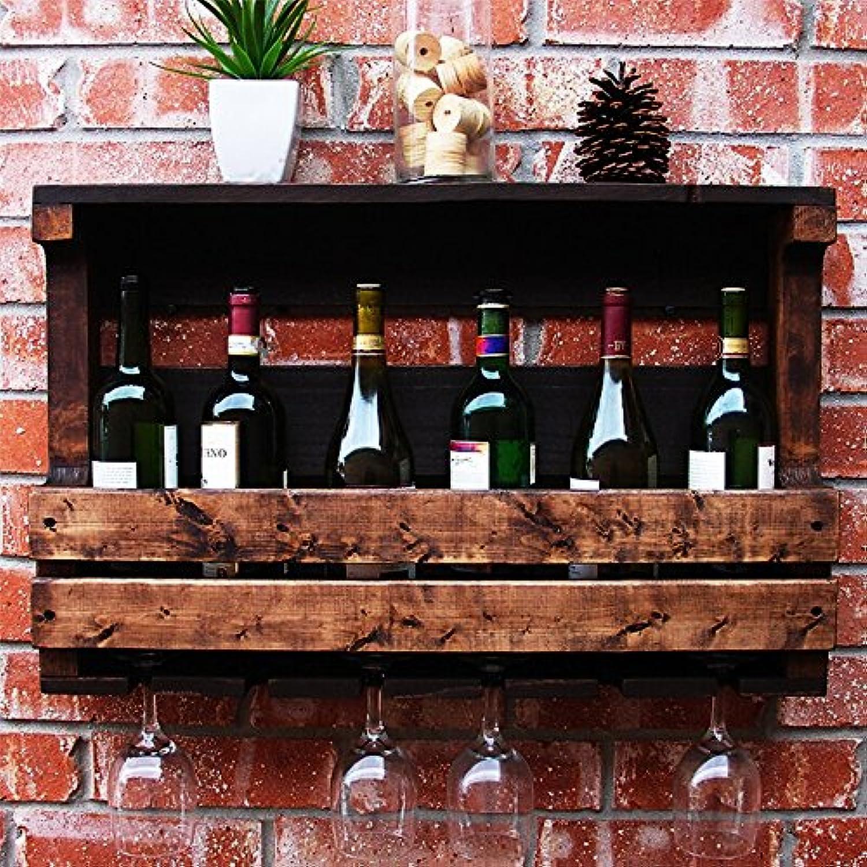 ワインラック ソリッドウッドウォールナット壁掛けワイン/ガラスカップは、多くの機会に適して安全で快適な耐久性のある2つのサイズ2つのスタイル50cm:4つのボトルを置くことができます。 70cm:6本を入れることができます (サイズ さいず : 70 * 42 * 13cm)