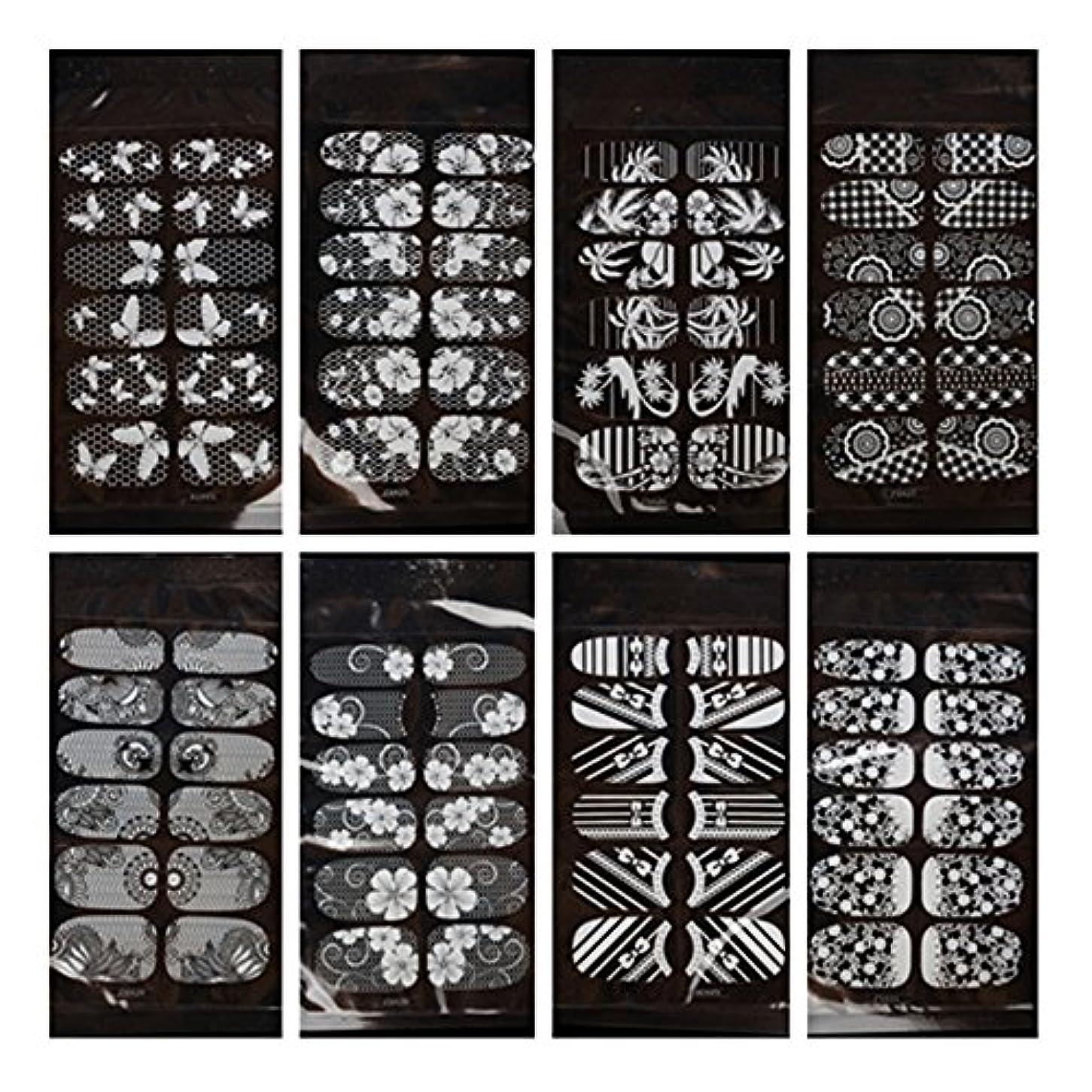 矩形注ぎます追加する8枚セット花柄ネイルシール ネイルステッカー セット 貼るだけマニキュア 白色 透明 (Aセット)