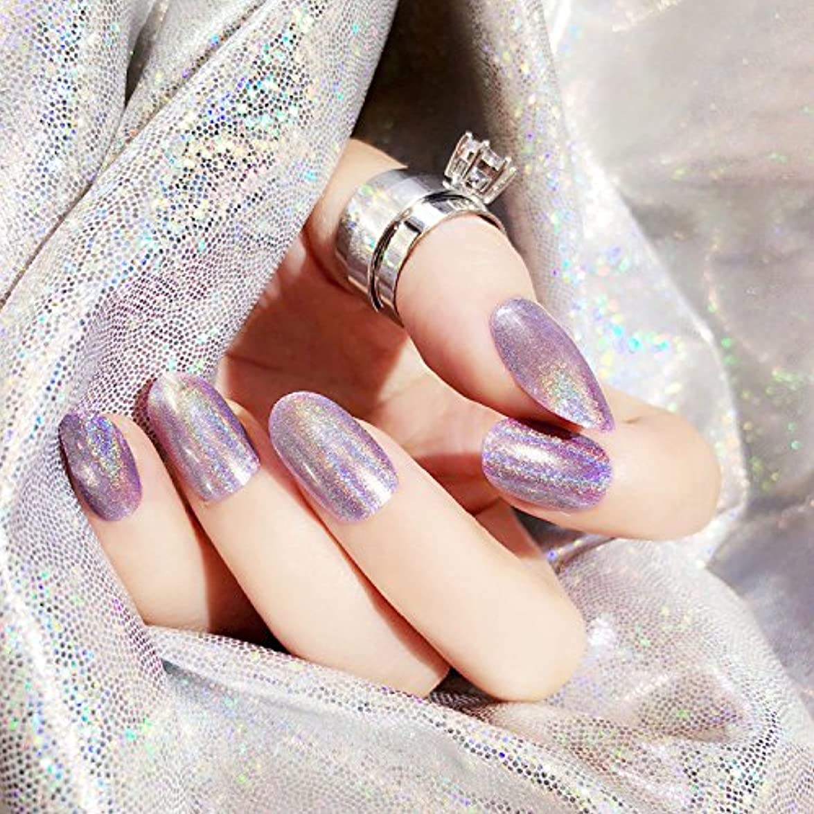 怠感一晩ガム質感 彩がつく 24枚純色付け爪 ネイル貼るだけネイルチップ レーザー 多重光沢 お花嫁付け爪 ジェルネイルの光疗法 シンフォニー (バラの紫)