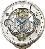 リズム時計 Small World 電波 からくり 掛け時計 スモールワールドシーカーJ 《ギアからくり時計》 30曲 メロディ ピンク (メタリック色) 4MN529RH13