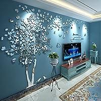 N.Sunforest 3Dクリスタルアクリルカップルツリー 壁ステッカー シルバー 粘着シール DIY壁画 ホーム装飾 アート M シルバー silver-m