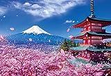 1000ピース ジグソーパズル 世界遺産 富士と桜舞う浅間神社(49x72cm)