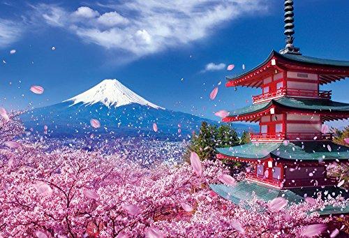 1000ピース ジグソーパズル 世界遺産 富士と桜舞う浅間神社(49x72cm)の詳細を見る