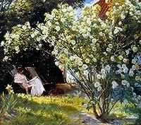 手描き-キャンバスの油絵 - Marie en el jardin Peder Severin Kroyer 芸術 作品 洋画 ウォールアートデコレーション -サイズ16