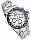 TECHNOS テクノス メンズ腕時計 クロノグラフ 10気圧防水 ブラックIPベゼル ホワイトダイヤル ベルト調節工具…