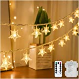 YINBOO Star String Lights Battery Operated Waterproof, 40 Warm White LED 20 FT Star Fairy String Light with Remote Control fo