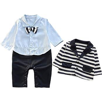 ee6a099704d5b COCO1YA(ココイチヤ) ベビー 新生児 ロンパース セットアップ 男の子 フォーマル 赤ちゃん スーツ 縞模様 春 秋