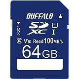 バッファロー SDカード 64GB 100MB/s UHS-1 スピードクラス1 VideoSpeedClass10 IPX7 Full HD データ復旧サービス対応 RSDC-064U11HA/N