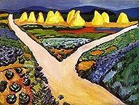 手描き-キャンバスの油絵 - Vegetable Fields August Macke 芸術 作品 洋画 抽象画 Canvas 表現主義 ACE1 -サイズ01