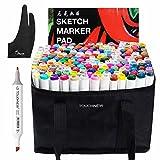 Touchnew 水彩毛筆 マーカーペン ダブルペン先/ツイン先 +A4ドローイングブック+Parblo 2本の指グローブ+ペンシルバッグ (168色) 保証提供いたしておりますので、問題がございましたら弊社と連絡してください。無料交換或いは新品再送を手配させていただきます