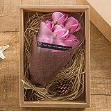 KIZAWA  枯れない花 ソープ フラワー プレゼント ギフト 大切な人 へ 感謝 の 気持ち を 伝える 花束 ( 母の日 ・ バレンタイン ・ ホワイトデー ・ 入学 ・ 卒業 ・ 誕生日 ・ 結婚記念日 など 様々な お祝い の シーン に 最適 ) (7本, ピンク)
