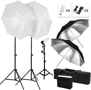 写真スタジオ照明キット 撮影照明 45W/5500K電球 半透明傘 ブラック/シルバー反射傘 調整可能ライトスタンド 電球バック キャリングバッグ