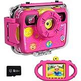 Ourlife Kids Camera, Selfie Kids Waterproof Digital Cameras for Kids 1080P 8MP 2.4 Inch Large Screen with 8GB Memory Card, Si