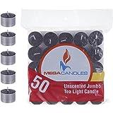 Mega Candles 50 pcs Unscented Black Jumbo Tea Lights Candle, Pressed Wax Candles 8 Hour Burn Time, Home Décor, Wedding Recept