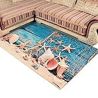 屋内 玄関マット ベッドルームマット プレイマット 遊びマット 大きいサイズ オシャレ 海辺 貝殻 カーペット 吸水 吸湿 滑り止め 抗菌 色あせしにくい 耐久性 チェアマット デスクマット ベランダ 床暖房 リビングルーム 60*90cm