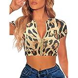 LAGSHIAN Womens Sexy Summer Short Sleeve Zipper Front Casual Crop Tops