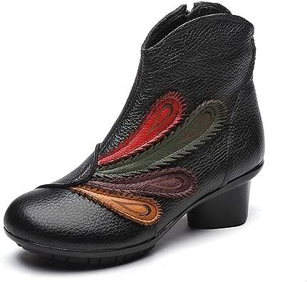 [HR株式会社] レディースブーツ 赤 革 ヒール 歩きやすい 冬用ブーツ ラウンドトゥ 美脚 森ガール 原宿系