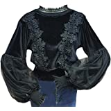 Women's Flare Sleeve Lace Net Yarn Pullover Casual Blouse Top Apricot OneSize