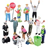 Constructive Playthings MTC-334 Pretend Professionals Career Doll Figures, Toy Figures for Kids, Set of 12