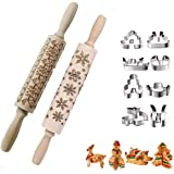 Christmas Engraved Rolling Pins,Wooden Embossing Rrolling Pin with Christmas Themed Symbols, Stainless Steel Christmas Cookie
