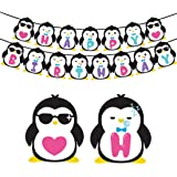 Penguin Birthday Party Supplies - Penguin Happy Birthday Banner for Kids Party Decorations