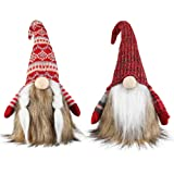 Meriwoods Plush Tomte Gnome Couple, 18 Inches Traditional Swedish Nisse with Faux Fur, Scandinavian Christmas Decorations, Sa