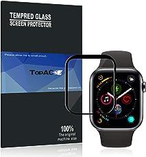 Apple watch series 4 44mm ガラスフィルム TopACE Apple watch series 4 44mm フィルム 硬度9H 3D 耐衝撃 撥油性 超耐久 耐指紋 飛散防止処理保護フィルム 【全画面貼る可能】液晶画面全面タイプ Apple watch series 4 44mm対応 (ブラック)