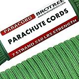 Brotree 4mm パラコード 30m テント ロープ 7芯 パラシュートコード 耐荷重250kg ガイロープ ミルスペック規格 アウトドア キャンプ サバイバル 吹雪強風対策固定 用ひも ダークグリーン
