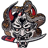 Hannya Oni Mask Patch Embroidered Badge Iron On Sew On Emblem