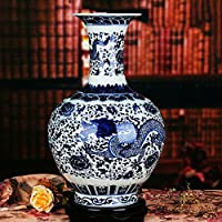 XIAOYAN 中国Jingdezhenセラミックス青と白の磁器のドラゴンの花瓶 (サイズ さいず : 01)