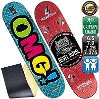 オーエムジー(OMG!) スケボー スケートボード マスター ロゴ デッキ 7.375 ブルー & クリア 無地 グリップテープ デッキテープ 子供用