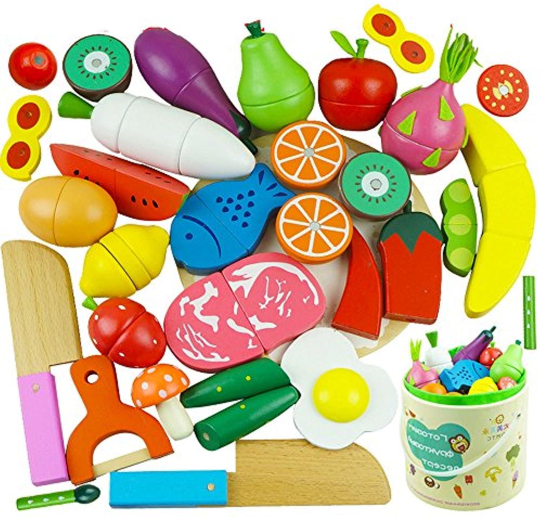 Soul ままごと 木製 マグネット 果物と野菜切れる 子供 おもちゃ サクッと切れるままごと 知育玩具 (26点セット 野菜+果物)