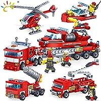 Funny Toyy 348ピース 消防車 ヘリコプター ボート ビルディングブロック 互換性 シティ消防士 フィギュア ブリック 子供の啓発玩具