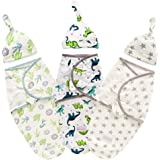 Baby Swaddle Blanket with Hat Set of 3 for Newborns 0-6 Month Adjustable Infant Wraps(Stars/Dinosaur/Cactus)
