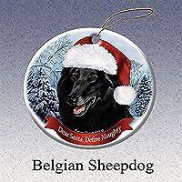 クリスマスツリー用オーナメント 磁器製 選べる犬種 サンタ帽子付き ホワイト 815588019050