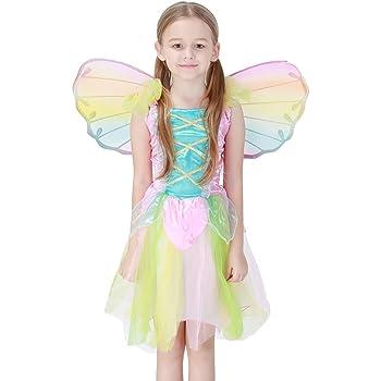 2253b9ebacec4 cnstone ハロウィン衣装 子供 蝶 妖精 羽付き エンジェルワンピース お花の妖精 レインボー色 キッズ