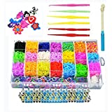 4400 Colorful Rubber Bands Refills for Bracelets,Rainbow Loom Kit with Charms,Loom and Hook,DIY Weaving Arts and Crafts for Girls age 6