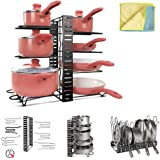 Pot Rack Organizer 8 Tiers Adjustable Kitchen Pot and Pan Organizer for Kitchen Organization and Storage