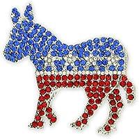 PinmartのラインストーンパーティDemocrat Donkey政治ブローチラペルピン 5