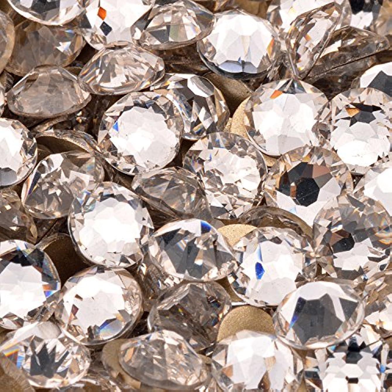 スワロフスキー代用 新改良 最高品質 ガラスストーン クリア SS20 SS16 SS12 10グロス(約1440粒) (SS12(約3mm), 最高品質クリスタル/50粒)
