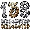 数字 ワッペン スパンコールワッペン アイロン接着 シルバー ゴールド ナンバー キラキラワッペン アイロンワッペン 手芸 ワッペンデコ ワッペンカスタム WAPPEN (シルバー:3)