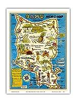 """オアフ島、ハワイ""""MEM-O-マップ"""" - 第二次世界大戦軍事記念碑マップ - ビンテージイラストマップ によって作成された ジョン・G・ドルリー c.1946 - アートポスター - 23cm x 31cm"""