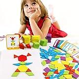 155個入  カラフル  木製ジグソーパズル  知恵の板  タングラム  木製ジグソーパズルボード   木製パターンブロック  形合わせ認識  色認識  DIY  積み木 型はめ  幼児  知育玩具  子供おもちゃ