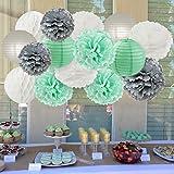 Furuix ペーパーポンポン ペーパーフラワー 提灯 誕生日 飾り付け パーティー 飾り ミントグリーン ホワイト グレー