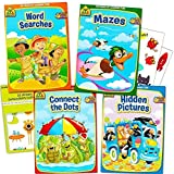 School Zone Activity 4 Book Set For Kids Inc.Mazes, Connect the Dots,Word Searches, Hidden Pictures,